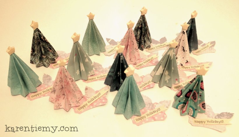 origami Christmas tree diy cute kawaii dobradura folding paper scrapbooking