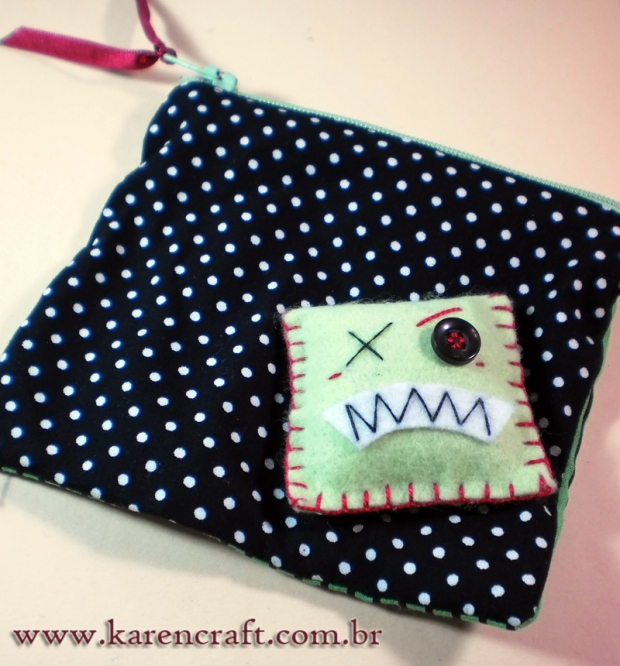 felt applique monster small pouch polka dots