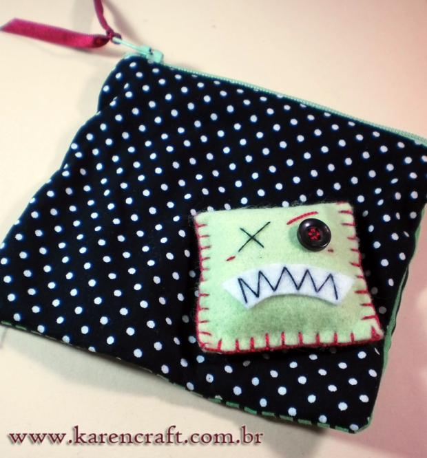 felt applique monster small pouch polka dots