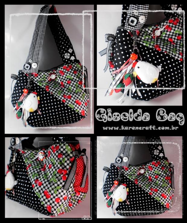 karen tiemy fabric bag polka dot cute country chicken felt patchwork