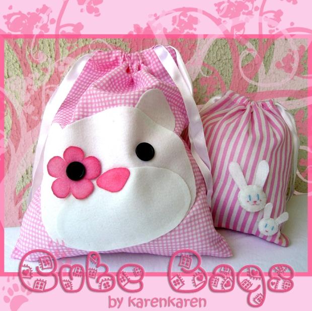 karen tiemy drawstring bag bear cute felt kawaii