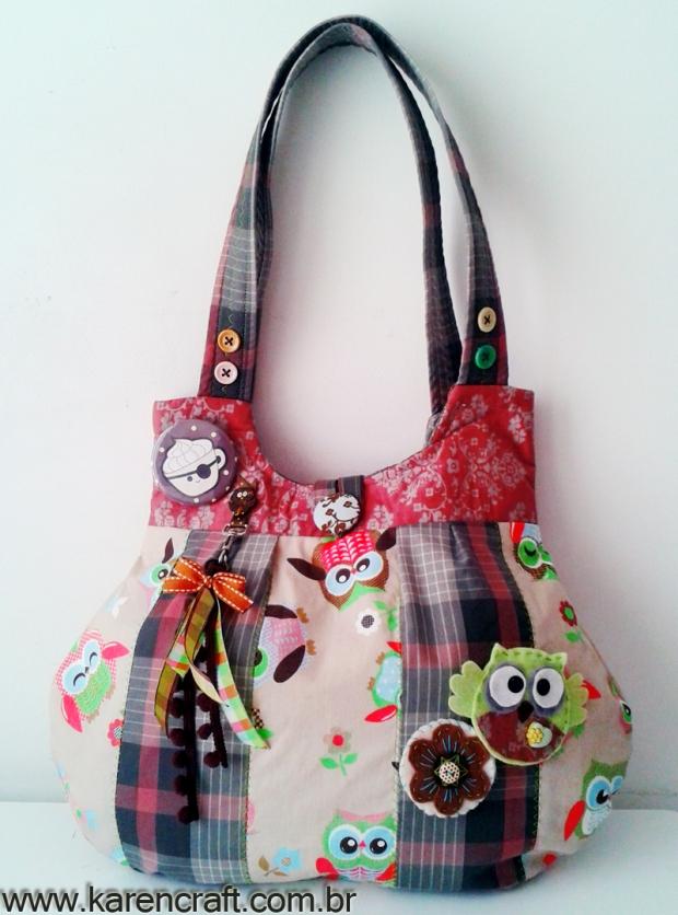 karen tiemy patchwork bag diy owl simplicity