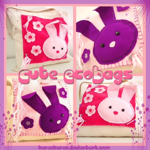 karen tiemy tote bag bunny cute felt kawaii shopping ecobag pink
