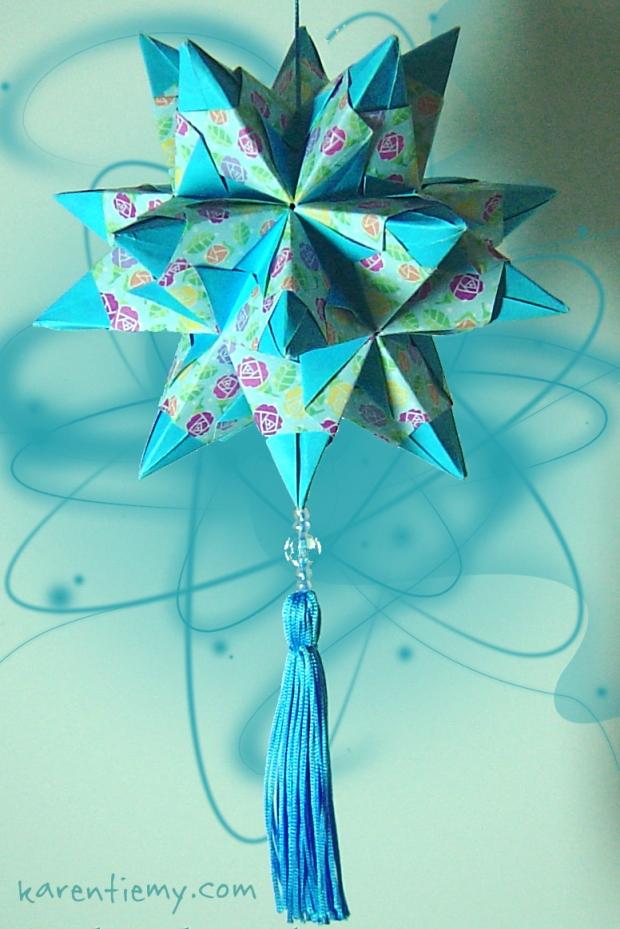 kusudama tornillo star origami modular papiroflexia blue mobile cute kawaii karen tiemy