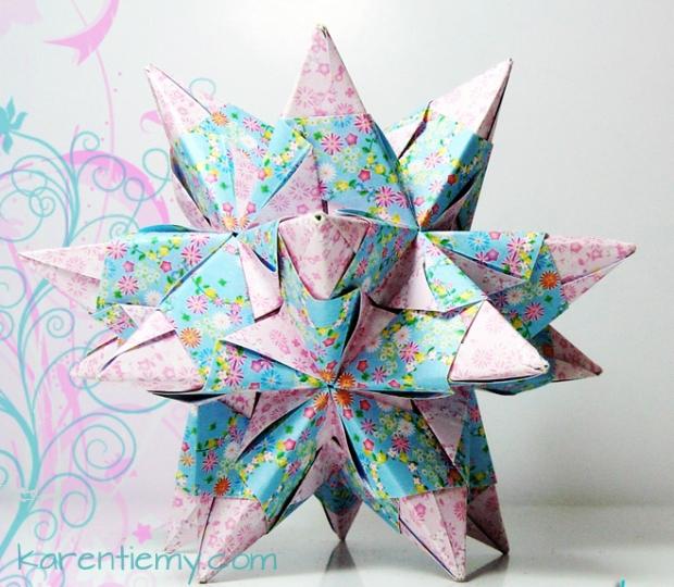 kusudama tornillo star origami modular papiroflexia blue pink cute kawaii karen tiemy