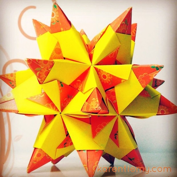 kusudama tornillo star origami modular papiroflexia yellow orange cute kawaii karen tiemy
