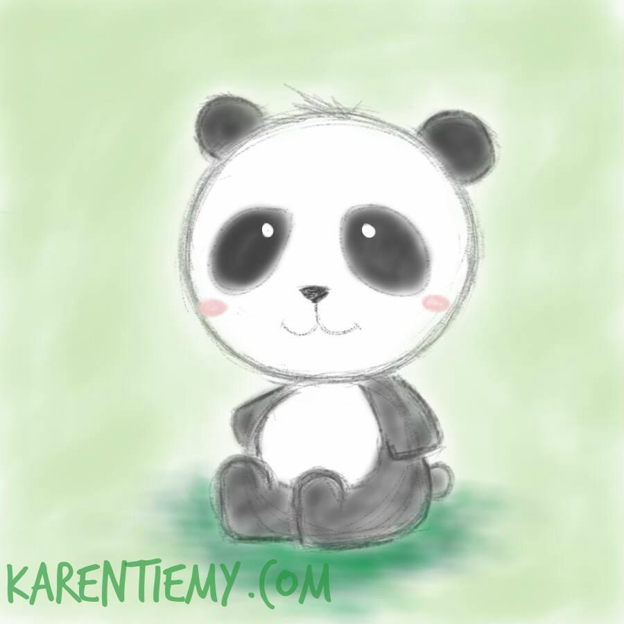 Panda Karen Tiemy Cute Animal Drawing Kawaii Illustration Cartoon