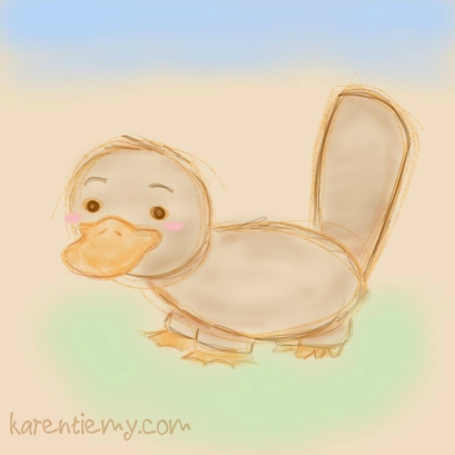 platypus karen tiemy cute animal drawing kawaii illustration cartoon digital sketches 2