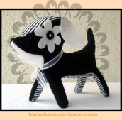 plushies softies felt projects stuffed dolls toy handmade sewing diy soft snuggly karen tiemy white black dog