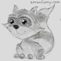 racoon karen tiemy cute animal drawing kawaii illustration cartoon digital sketches 2