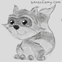 racoon karen tiemy cute animal drawing kawaii illustration cartoon digital sketches 2