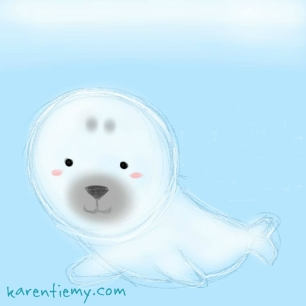 seal karen tiemy cute animal drawing kawaii illustration cartoon digital sketches 2