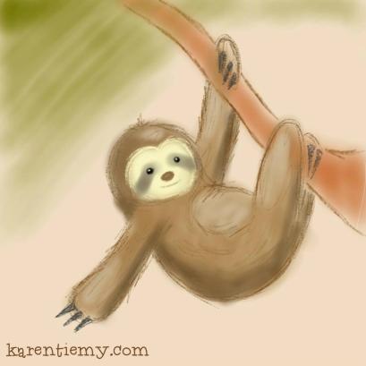 sloth karen tiemy cute animal drawing kawaii illustration cartoon digital sketches 2