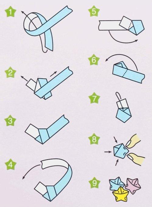 origami star paper strip cute kawaii easy